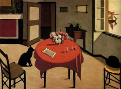 Interior with two glasses |  oil painting, 1923 |  Marius Borgeaud  ------ Museum cantonal des Beaux-Arts, Lausanne