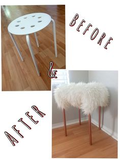 "Before & after (DIY VANITY CHIC STOOL) - purchased a ""Marius"" IKEA stool for $4.99 and a ""Tejn"" IKEA faux sheepskin for $12.99. Spray painted with Rustoleum Metallic Copper (already had some at home). To put together you simply get oversized safety pins and pin on the bottom. I had some at home but you can purchase at Joanns for $2 or $3. THATS IT! A cheap stool transformed into a cute vanity chair."