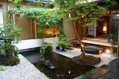 Small Garden Ideas For Small Space For Home Design: Landscape Small Garden Ideas With Koi Fish Pond And Lighting