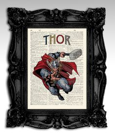 """Thor - Original illustration super hero collection art print 8""""x11"""", on an antique dictionary page - Vintage upcycled art print poster."""