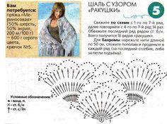 схема шали крючком ракушки: 20 тыс изображений найдено в Яндекс.Картинках