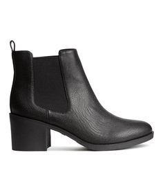 Chelsea boots in grained imitation leather with elastic side panels, loop at back, fabric linings and insoles, and rubber soles. Heel height 2 1/2 in. - Visit hm.com to see more.