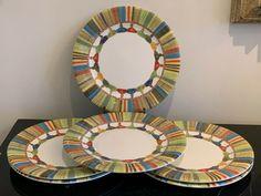 GIEN France Taffetas  Multicolor Tassels Design Salad or Dessert Plate Set of 6 #Gien Plate Sets, Tassels, Pottery, Salad, France, Plates, Dessert, Tableware, Design