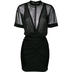 Balmain ruched mini dress (634.265 HUF) ❤ liked on Polyvore featuring dresses, black, vestidos, short-sleeve dresses, v-neck dresses, sleeveless dress, v neck short dress and short fitted dresses