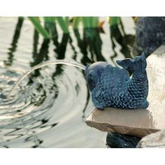 UBBINK Wasserspeier Fisch klein, 12 cm Polyresin in Bronze/Patina-Optik