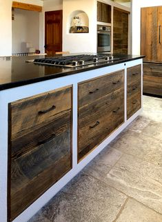 For a wabi-sabi Santa Fe kitchen remodel, our clients shared several photos of kitchens with the aesthetic they were seeking and a wabi-sabi quote. Rustic Wood Cabinets, Garbage Recycling, Solid Wood Kitchens, Adobe House, Kitchen Cabinetry, How To Antique Wood, Wabi Sabi, Santa Fe, Kitchen Remodel