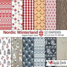 "Nordic Pattern Digital Papers - 12x12"" - scrapbooking paper - 300 dpi - Christmas Winterland - instant download - commercial use"