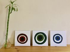 New handmade Evil Eye canvas set🧿 🧿 Small Paintings, Evil Eye, Shades Of Blue, Watercolor Art, Art Decor, Art Pieces, Contemporary, Wall Art, Canvas