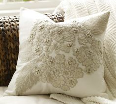 Hydrangea embroidered pillow