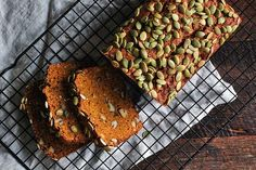 WEBSTA @ drumbeets - This fall weather has got me craving my red kuri squash bread. Sweet spices, almond and brown rice flours and pepitas... it's not too sweet and so delicious with a little coconut oil or ghee melted on top. Recipe in the blog archives!