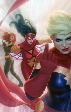 Captain Marvel, Spider-Woman  and Black Widow