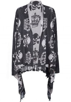 Grey Long Sleeve Imperial Crown Skull Pattern Tassel Cardigan pictures
