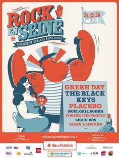 Rock en Seine 2012 25 & 26 août avec Green Day, The Black Keys, Placebo. The Black Keys, Graphic Design Posters, Graphic Design Typography, Poster Festival, Festival Cinema, Jazz Festival, Festival Rock En Seine, D Mark, Mark Lanegan