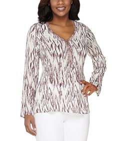 Love this Lisa Rinna Collection Mauve Zigzag Rhinestone-Collar Top - Plus Too by Lisa Rinna Collection on #zulily! #zulilyfinds