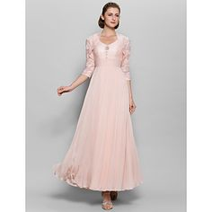 LAN TING BRIDE A-line Mother of the Bride Dress - Convertible Dress Ankle-length 3/4 Length Sleeve Chiffon Lace with Lace Ruching Sequins – AUD $ 204.48