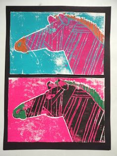 Thomas Elementary Art: 4th Grade Animal Printmaking (The best printmaking project I have ever done!) (Think I will do it with 5th or 6th grade)