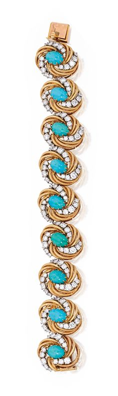 18 KARAT GOLD, PLATINUM, TURQUOISE AND DIAMOND BRACELET, VAN CLEEF & ARPELS, FRANCE.  Set with nine oval-shaped turquoise cabochons within gold ropetwist surrounds, set with round diamonds weighing approximately 8.50 carats, length 7 inches, signed Van Cleef & Arpels, Made in France, numbered 33078, with French assay marks.