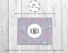Blue Lavender Floral - DIY Printable Monogram Note Card Template - Add Text, Print, Trim, Fold, Done! Unlimited Personal Prints. PRE.0154 by DIYNotecards on Etsy