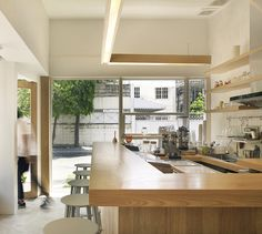 party space design has created a simple white construction for common room cafe in bangkok. Cafe Shop Design, Small Cafe Design, Cafe Interior Design, Interior Architecture, Plywood Furniture, Kid Furniture, Breakfast Cafe, Design Café, Common Room