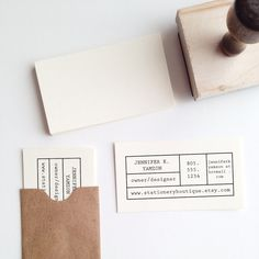 With this custom made stamp you can create your own business cards. The stamp is approximately 2.5″ x 1″, perfect for a 3.5″ x 2″ blank business card.