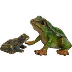 Antique Vienna Bronze frogs, early century from chateau on Ruby Lane Green Frog, Ruby Lane, Frogs, Vienna, Green Colors, It Cast, Bronze, Cold, Antiques