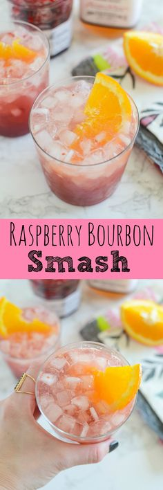 Raspberry Bourbon Smash - delicious cocktail for spring or summer! Raspberry, fresh orange juice, and bourbon!