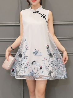 White Organza A-line Stand Collar Vintage Mini Dress