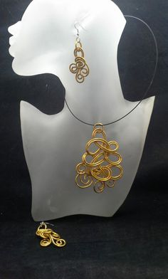 Gold Colored Wire Pendant Necklace And by SoftlySisterDesigns