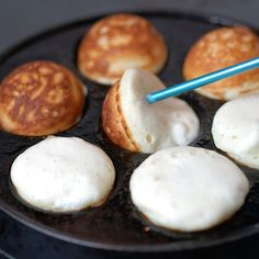 "Aebleskivers Danish Pancake Recipe. These are my favorite for breakfast! And we just love them in Denmark... It's always ""hyggeligt"" eating Æbleskiver (thats the danish word for them) with friends and family"