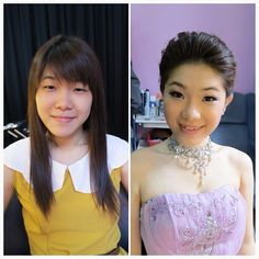 Prewedding makeup, before & after #bride #makeup