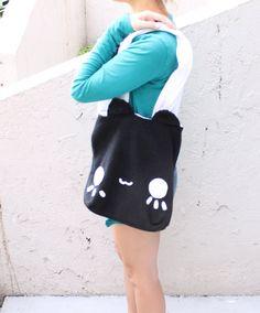 Black Cat Tote Bag   Kawaii Bag  Schoolbag  by HappyCosmos on Etsy, $21.25