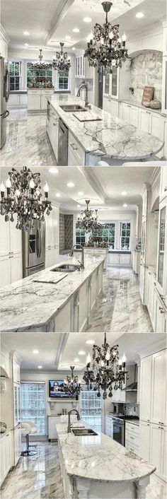 elegant and beautiful kitchen island and chandelier