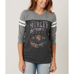 Hurley Full Tilt T-Shirt ($33) ❤ liked on Polyvore featuring tops, t-shirts, hurley tees, graphic print t shirts, graphic design t shirts, graphic tees and distressed t shirt