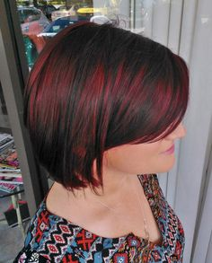 Blackened Silvery Red base with rich bright red highlighting peeking through - so modern! GOLDWELL Color Hair Color by David Frohmberg, Salon Tease Hair Cut/Style by Sir Daniel, Salon Tease