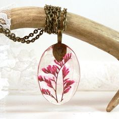 Preserved pink flower resin pendant  real plant by JolieGlace