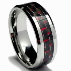 Men S Black And Red Carbon Fiber Wedding Band White Gold Rings