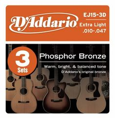 D'Addario EJ15-3D Phosphor Bronze Acoustic Guitar Strings, Extra Light, 3 Sets by D'Addario. $14.63. From the Manufacturer                D'Addario's lightest gauge of acoustic strings, EJ15s are ideal for beginners or any player that prefers a softer tone and easy bending. Buy 3 sets and save!Phosphor Bronze was introduced to string making by D'Addario in 1974 and has become synonymous with warm, bright, and well balanced acoustic tone. D'Addario Phosphor Bronze string...