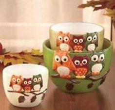 *NEW* Set Of 3 Harvest Owl Tabletop Bowls   Autumn Kitchen Ware Decor