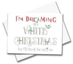 - Giclée print of an original watercolor on Museo archival paper with Crane & Co. envelope - x Greeting & Note Cards, Christmas Greeting Cards, Christmas Greetings, Beer Humor, Bee Design, Funny Cards, Blank Cards, Watercolor And Ink, White Christmas