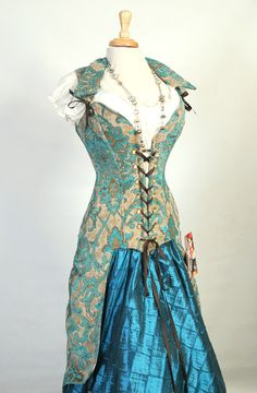 Damsel in this Dress 2016 Peacock Tailed Pirate Corset (overbust) -Vintage Teal Paisley