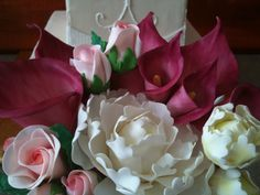 Sugar Flower Bouquet for Wedding Cake Decorations Calla Lilies Roses