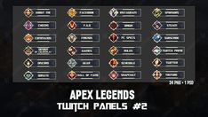 ✅ APEX LEGENDS - TWITCH PANELS #2 Facebook Instagram, Overlays, Photoshop, Branding, Projects, Brand Management, Brand Identity