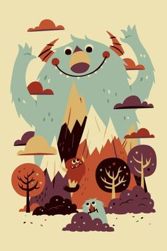 """Mountains and Trees with bear walking towards and """"Not all those who wander are lost"""" written across the mountains."""