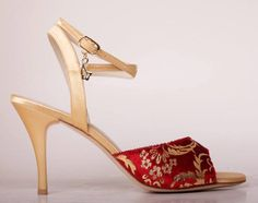 Gold satin and red velvet tango shoes, £126.00 at Amy's.