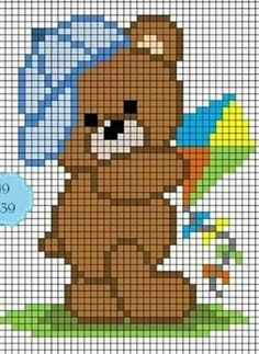 Diy Crafts - This post was discovered by Ferhunde Hut. Discover (and save!) your own Posts on Postingme. Baby Cross Stitch Patterns, Cross Stitch For Kids, Simple Cross Stitch, Cross Stitch Baby, Cross Stitch Charts, Cross Stitch Designs, Pixel Crochet Blanket, Graph Crochet, Tapestry Crochet