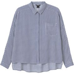 Monki Rinda shirt ($34) ❤ liked on Polyvore featuring tops, shirts, sleek stripes, boxy top, monki, long tops, long shirts and stripe top