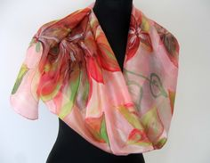 Pink hand painted scarf. Floral silk scarf. Red, green, pink flowers. https://www.etsy.com/listing/274191912/pink-hand-painted-scarf-floral-silk?ref=shop_home_active_2