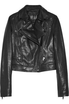 Black leather Snap-fastening notched lapels, three zip-fastening front pockets, zipped cuffs, Velcro-fastening tabs, fully lined in quilted satin Asymmetric zip-fastening through front 100% leather (Lamb); lining: 100% viscose Dry clean