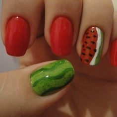 Trendy Nail Polish Designs The new manicure trends offer you the privilege to experiment with these trendy simple nail art designs in . Watermelon Nail Art, Fruit Nail Art, Watermelon Designs, Fancy Nails, Cute Nails, Pretty Nails, Fingernail Designs, Nail Polish Designs, Simple Nail Art Designs