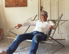 John testing his tensegrity chair